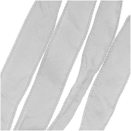 Silk Fabric Flat Silky Ribbon, 2cm Wide, 42 Inches Long, 1 Strand, Light Grey