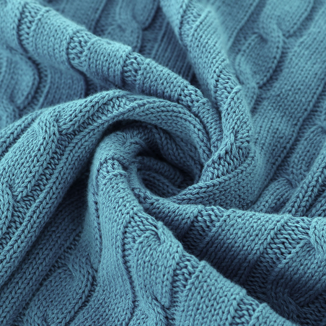 "Cotton Blanket Soft Warm Cable Knit Throw Home Bedding Blanket Teal Blue 50""x60"" - image 6 de 8"