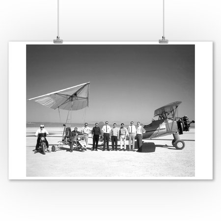 Paresev 1-A and Tow Plane with Crew and Pilot Photograph (9x12 Art Print, Wall Decor Travel Poster)