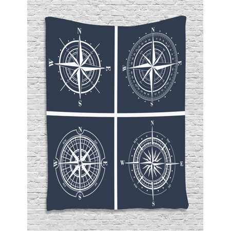 Compass Tapestry, White Compasses with Navy Blue Background Navigation Sailing Themed Art, Wall Hanging for Bedroom Living Room Dorm Decor, Navy Blue and White, by Ambesonne ()