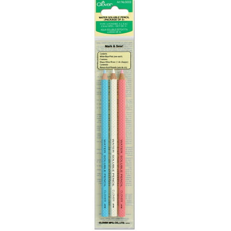 Water Soluble Marking Pen (Clover Water Soluble Pencil, White, Pink and Blue,)