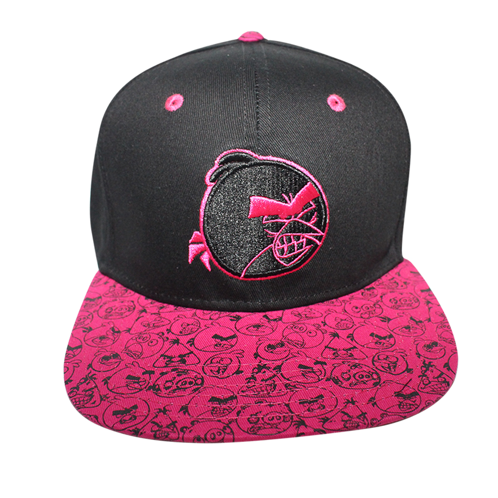 38436ddc840 Angry Birds Sublimated Brim Licensed Black Pink Snapback Hat