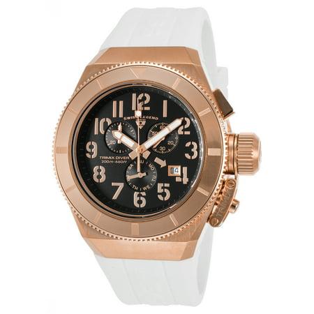 Swiss Legend 13844-Rg-01-Wht Trimix Diver 2.0 Chrono White Silicone Black Dial Watch
