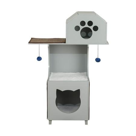 Elegant Home Fashions Grey Cat Box Tower