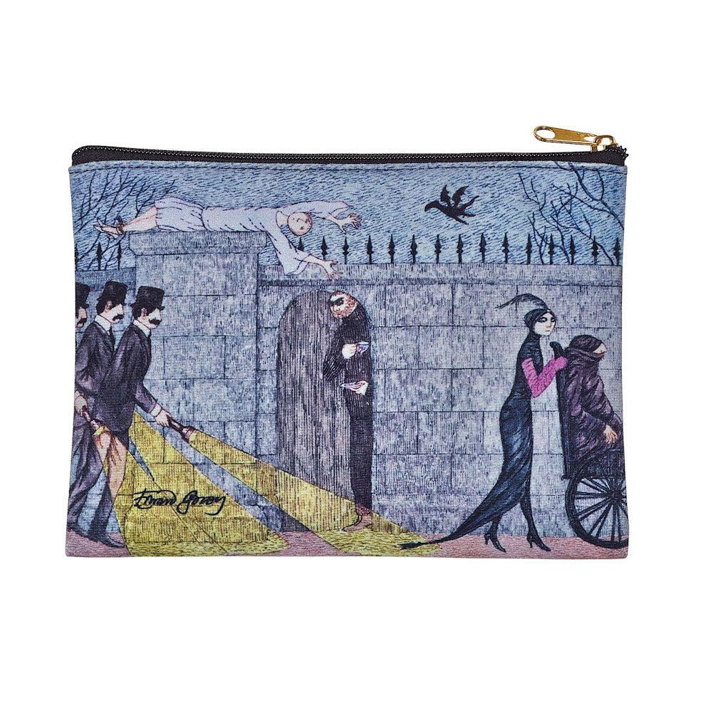 Women's Edward Gorey Printed Zipper Pouch - Mystery