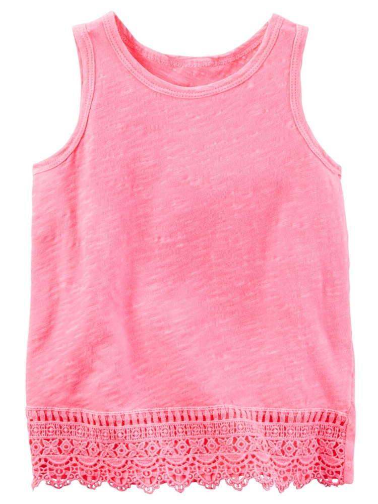 Carters Baby Clothing Outfit Girls Neon Crochet Trim Tank Pink