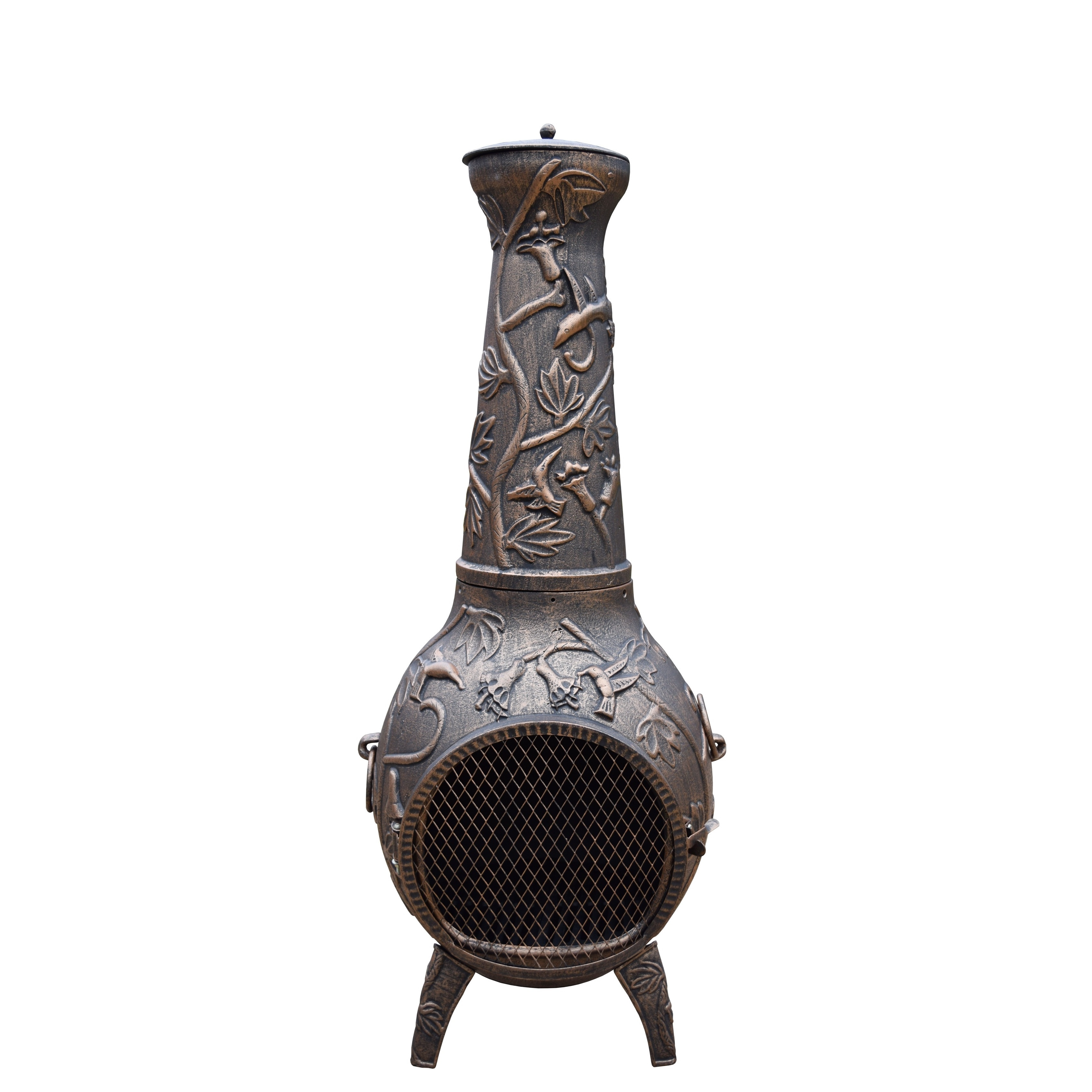 Oakland Living Corporation Lattice 53-inch Tall Chiminea with Built-in Handles, Grate, Spark Protective... by Overstock