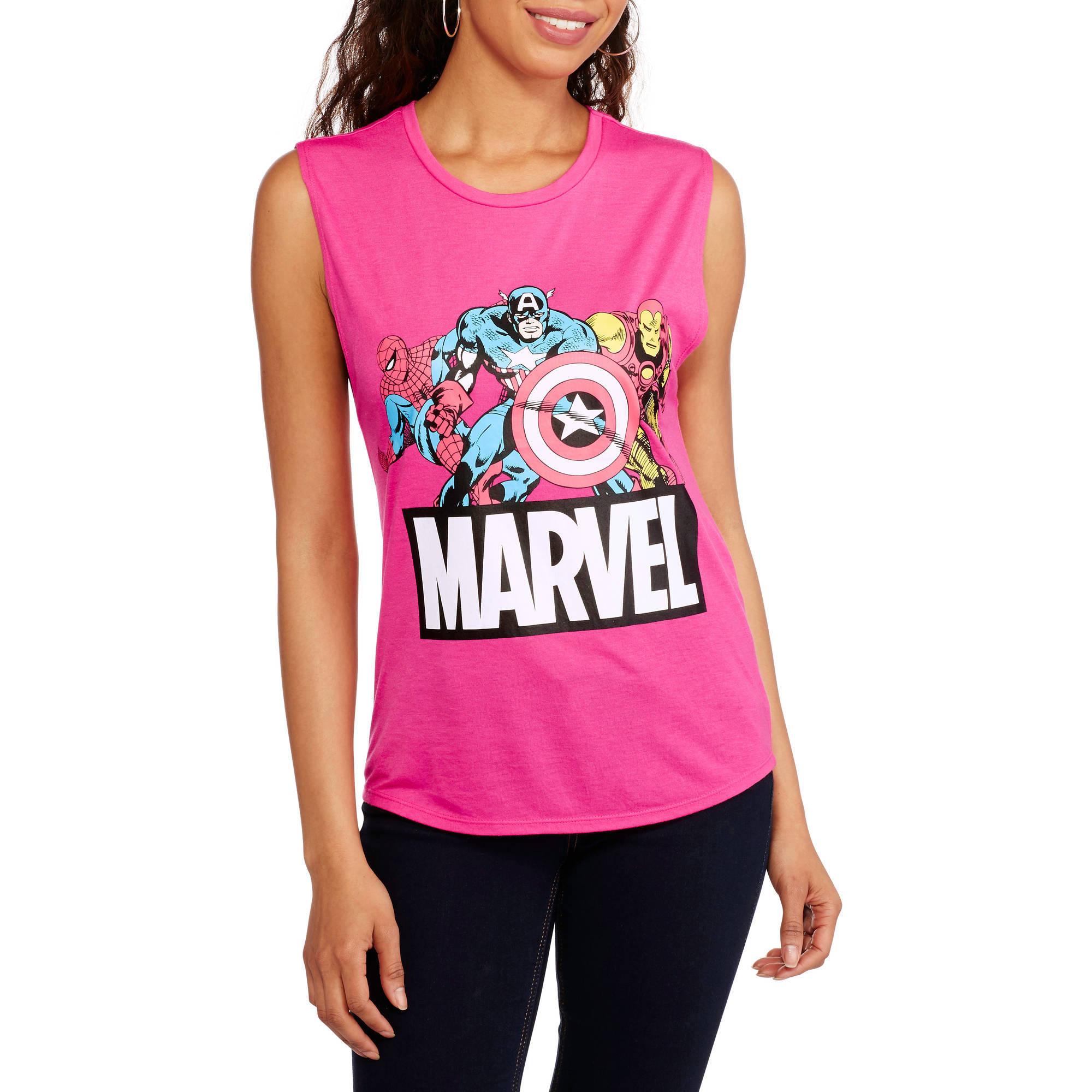Marvel Juniors Graphic Shirttail Muscle Tank