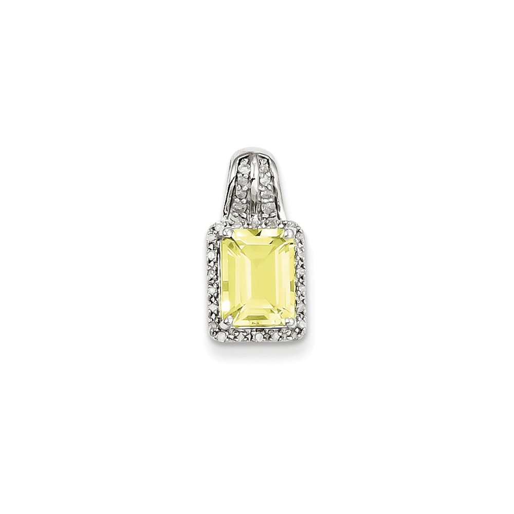 Sterling Silver Diamond & Lemon Quartz Square Pendant Wt- 0.1ct. Gem Wt- 1.28ct