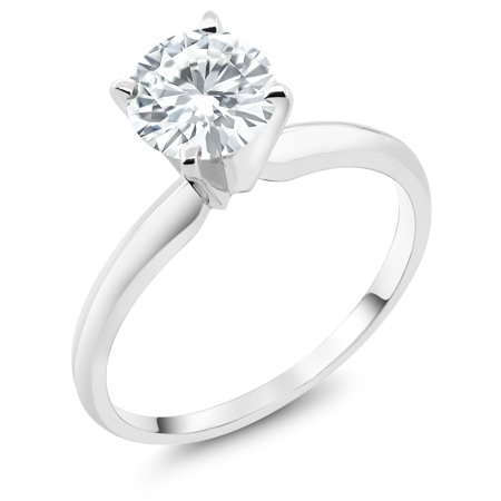Forever Classic 0.80cttw DEW Created Moissanite 14K White Gold Solitaire Ring