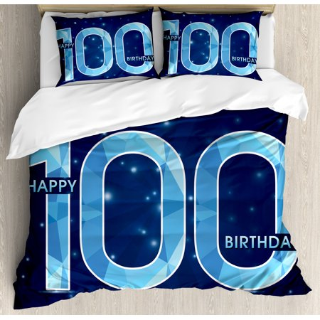 100Th Birthday Decorations Queen Size Duvet Cover Set  Happy Birthday Old Grandparents Century Party Image  Decorative 3 Piece Bedding Set With 2 Pillow Shams  Sky Blue And Navy Blue  By Ambesonne