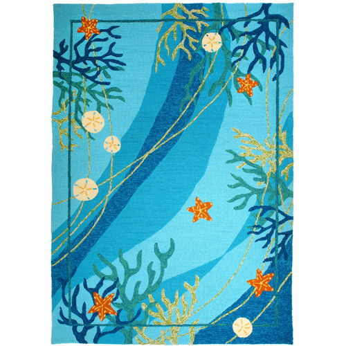 Homefires Underwater Blue Coral and Starfish Indoor/Outdoor Rug