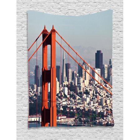 United States Tapestry  San Francisco Bridge And Cityscape Metropolis Financial District  Wall Hanging For Bedroom Living Room Dorm Decor  60W X 80L Inches  Orange Baby Blue White  By Ambesonne