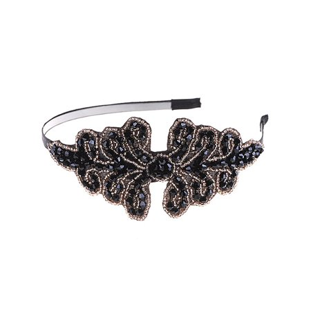Masquerade Black Brown Crystal Beaded Formal Gown Hair Accessory Piece Headband