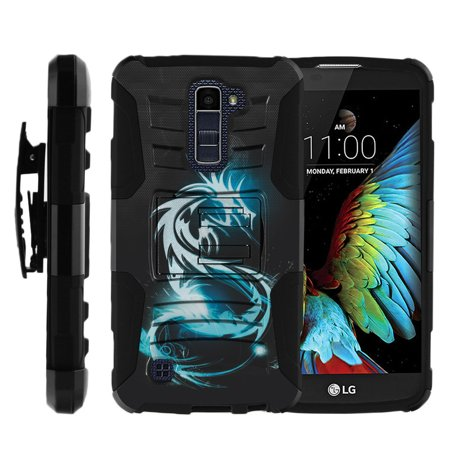 Bongo Belt - LG K10 Case | LG Premier Case [ Clip Armor ] Rugged Impact Layer Case with Built in Kickstand and Bonus Belt Clip - White Dragon