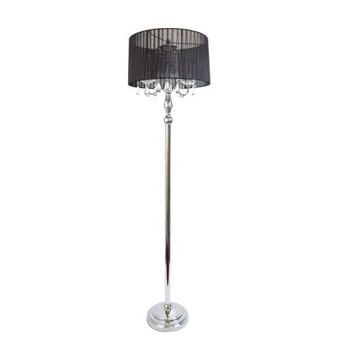 Elegant Designs Trendy Romantic Sheer Shade Floor Lamp with Hanging Crystals by Elegant Designs