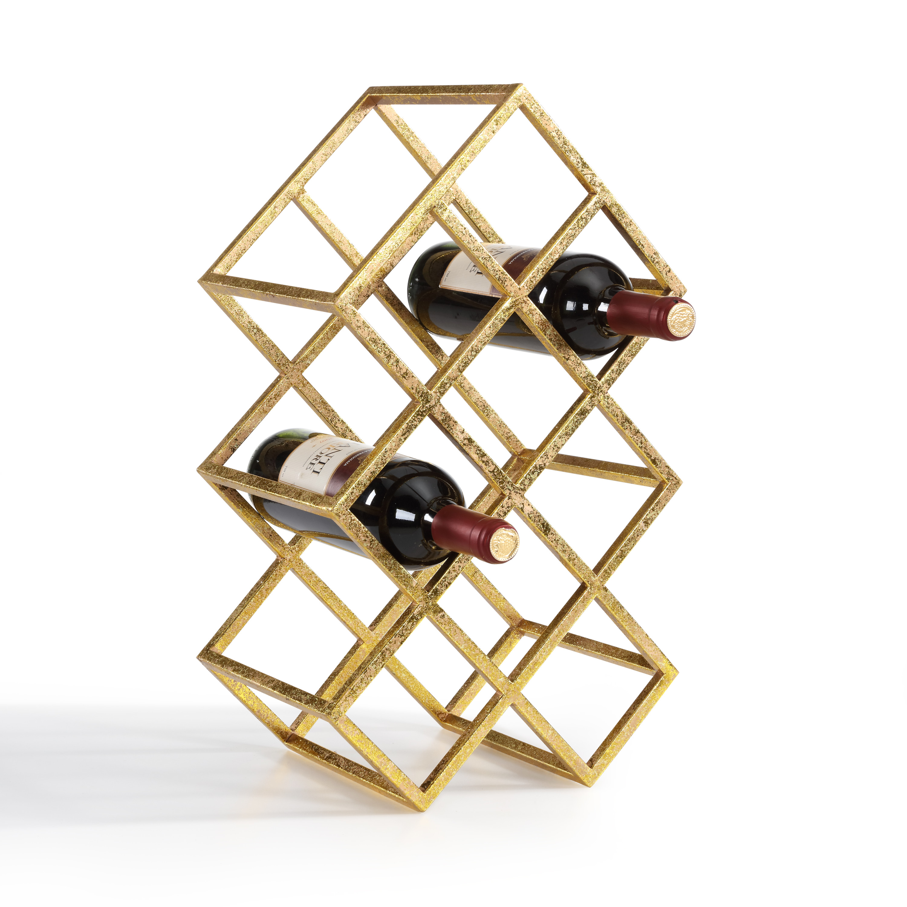 Danya B. Sparkling Gold 9 Bottle Wine Rack by Danya B