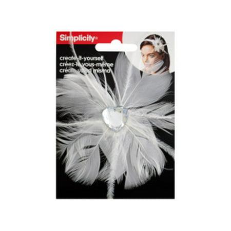 White Feather with Heart Jewel Headband Accent (Bulk Headbands)