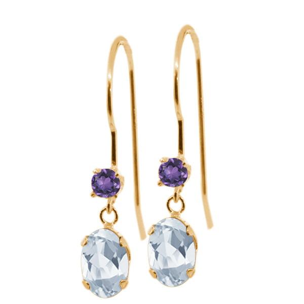1.22 Ct Oval Sky Blue Topaz Purple Amethyst 14K Yellow Gold Earrings