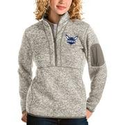 Charlotte Hornets Antigua Women's Fortune Quarter-Zip Pullover Jacket - Natural