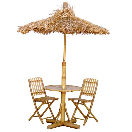 Bamboo54 Tiki Bistro Set with 2 Chairs and Thatch Umbrella - 4 pc Set (Tiki Umbrellas)
