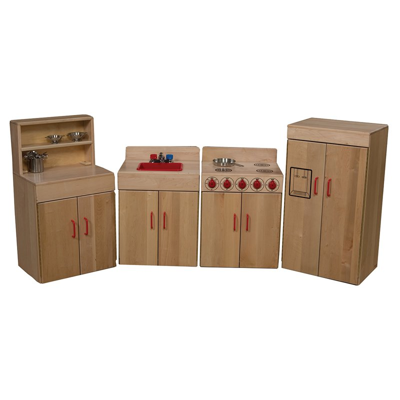 Wood Designs Classic 4 Piece Play Kitchen Set Natural Walmart Com