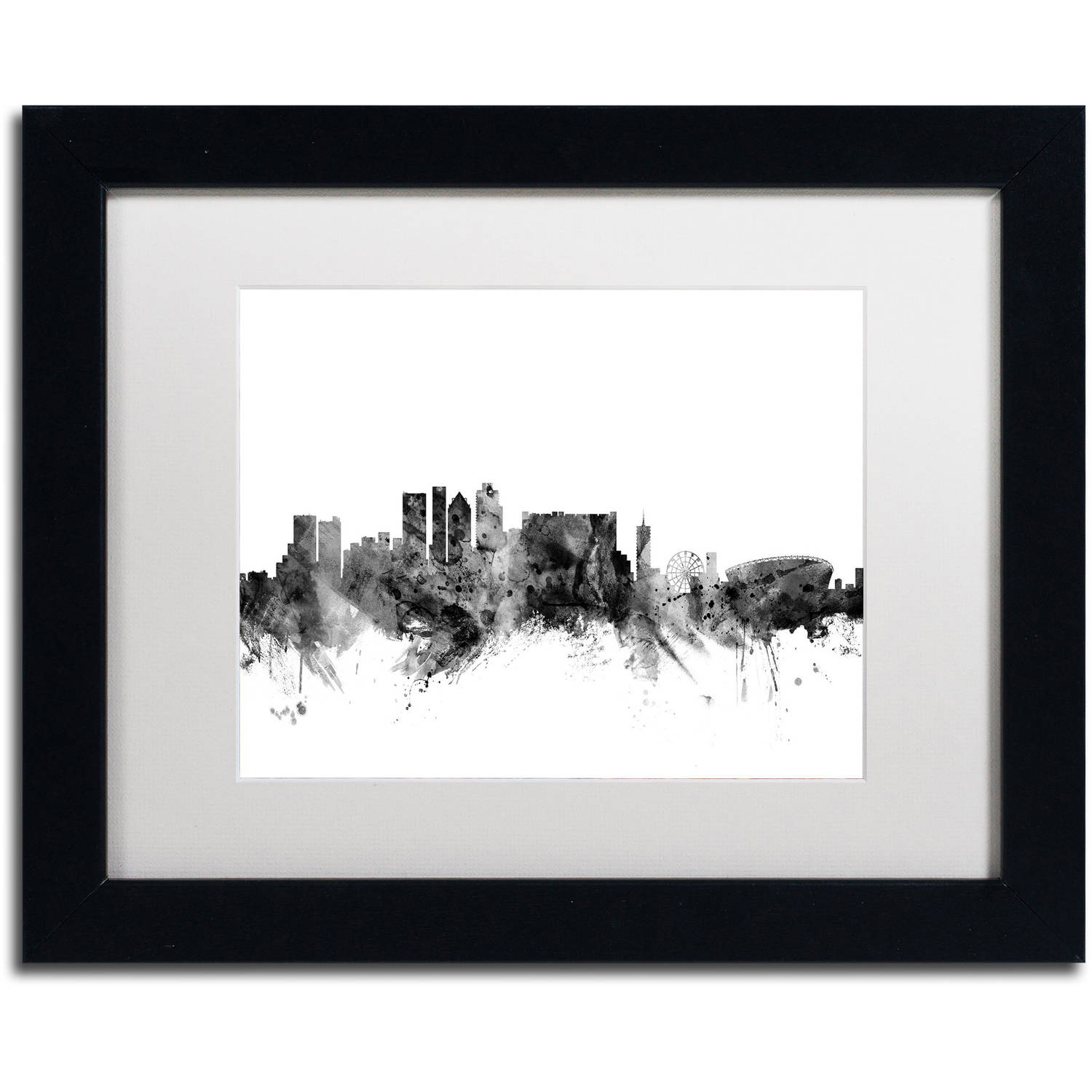 "Trademark Fine Art ""Cape Town S Africa Skyline B&W"" Canvas Art by Michael Tompsett, White Matte, Black Frame"