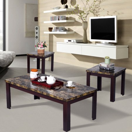 Costway 3 piece faux marble coffee table set living room - Corner tables for living room online ...