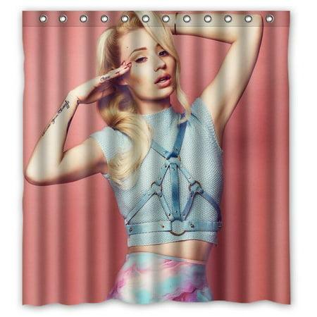 Deyou Sexy Singer Iggy Azalea Design Shower Curtain Polyester Fabric Bathroom Shower Curtain Size 66X72 Inch