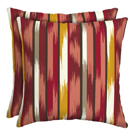 Mainstays Ombre Stripe Red 16 in. Square Outdoor Toss Pillow - Set of 2