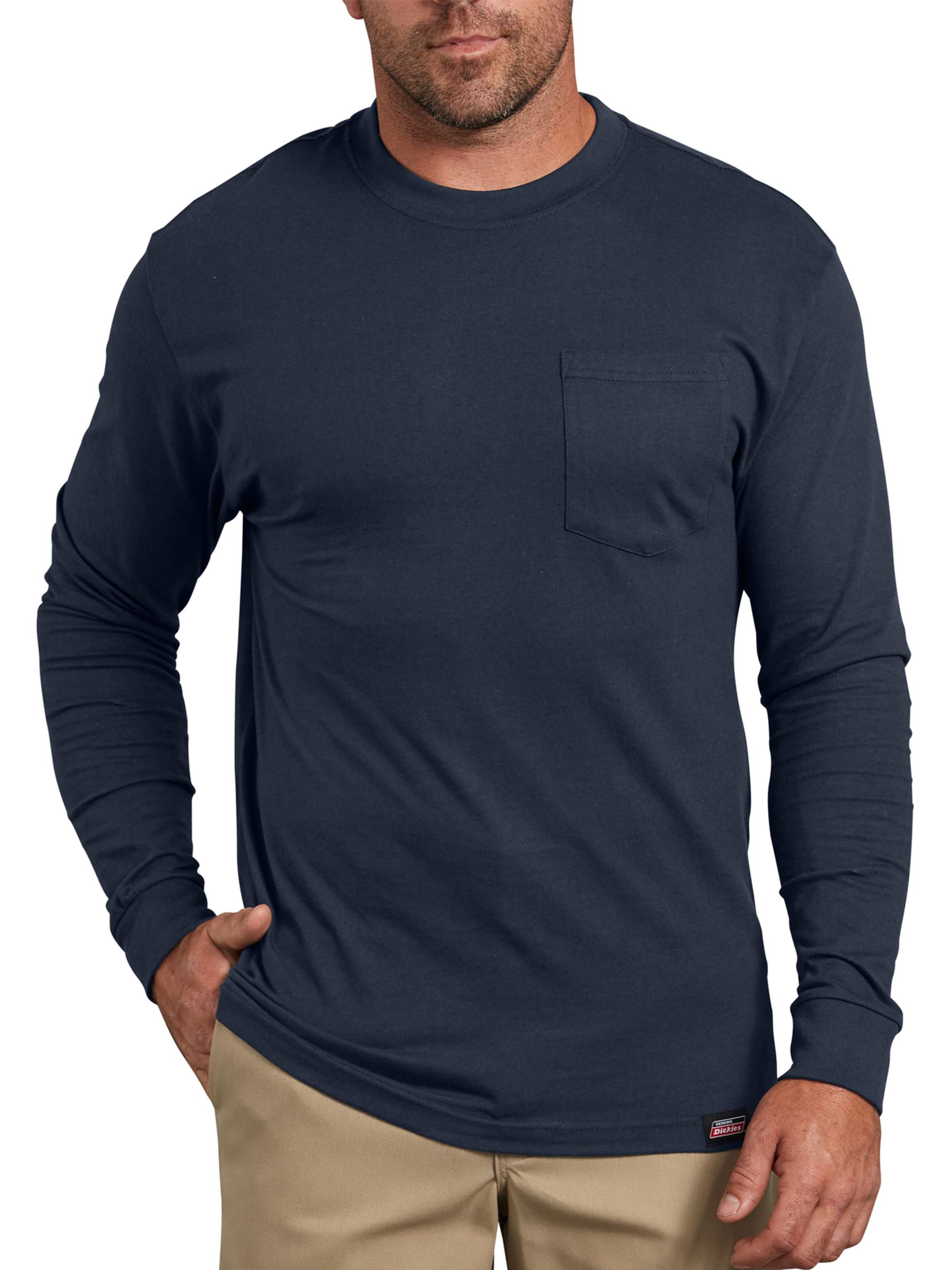 Big Men's Heavy Weight Long Sleeve Pocket T-Shirt, 2-Pack