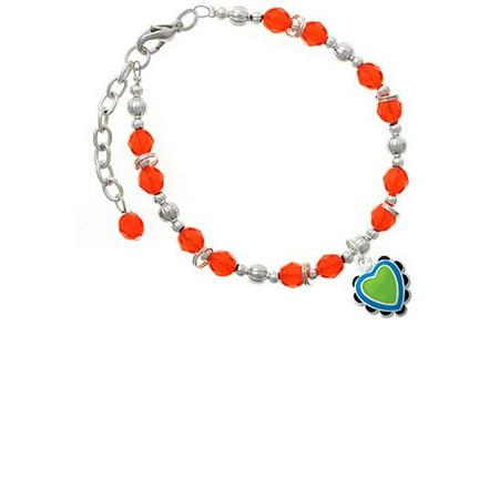 Silvertone Lime Green & Silvertone Hot Blue Heart with Black Ruffles Orange Beaded (Soy Beads Melter)