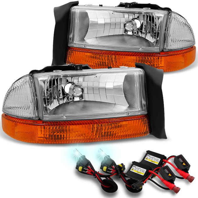 Fit 98-04 Dakota 98-03 Durango Chrome Headlights w/Signal Lamps + 8000K HID Kit