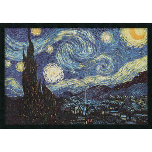 The Starry Night Framed Wall Art by Vincent van Gogh - 37.41W x 25.41H in.