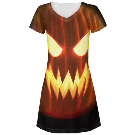Halloween All Over JackOLantern Juniors V-Neck Dress