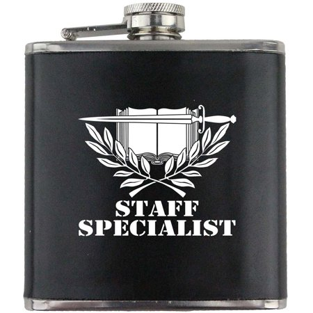 (Army Staff Specialist Branch Military Stainless Steel Leather Wrapped 6oz. Flask)