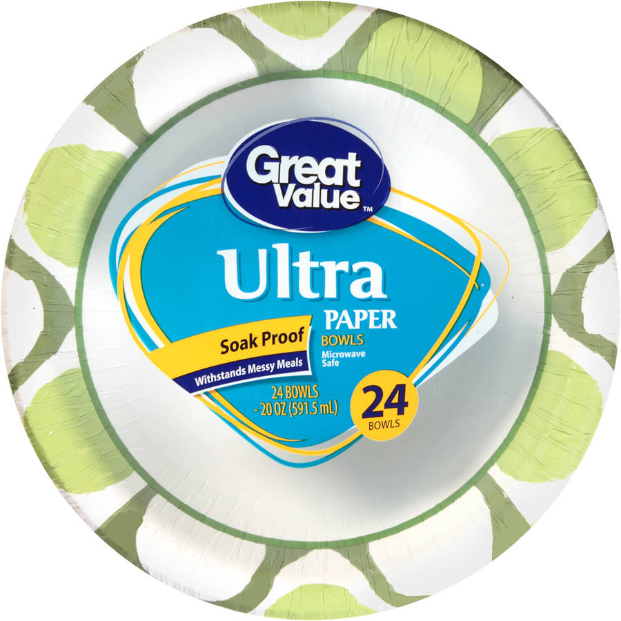 Great Value Ultra Maximum Strength 20 oz Paper Bowls, 24 count