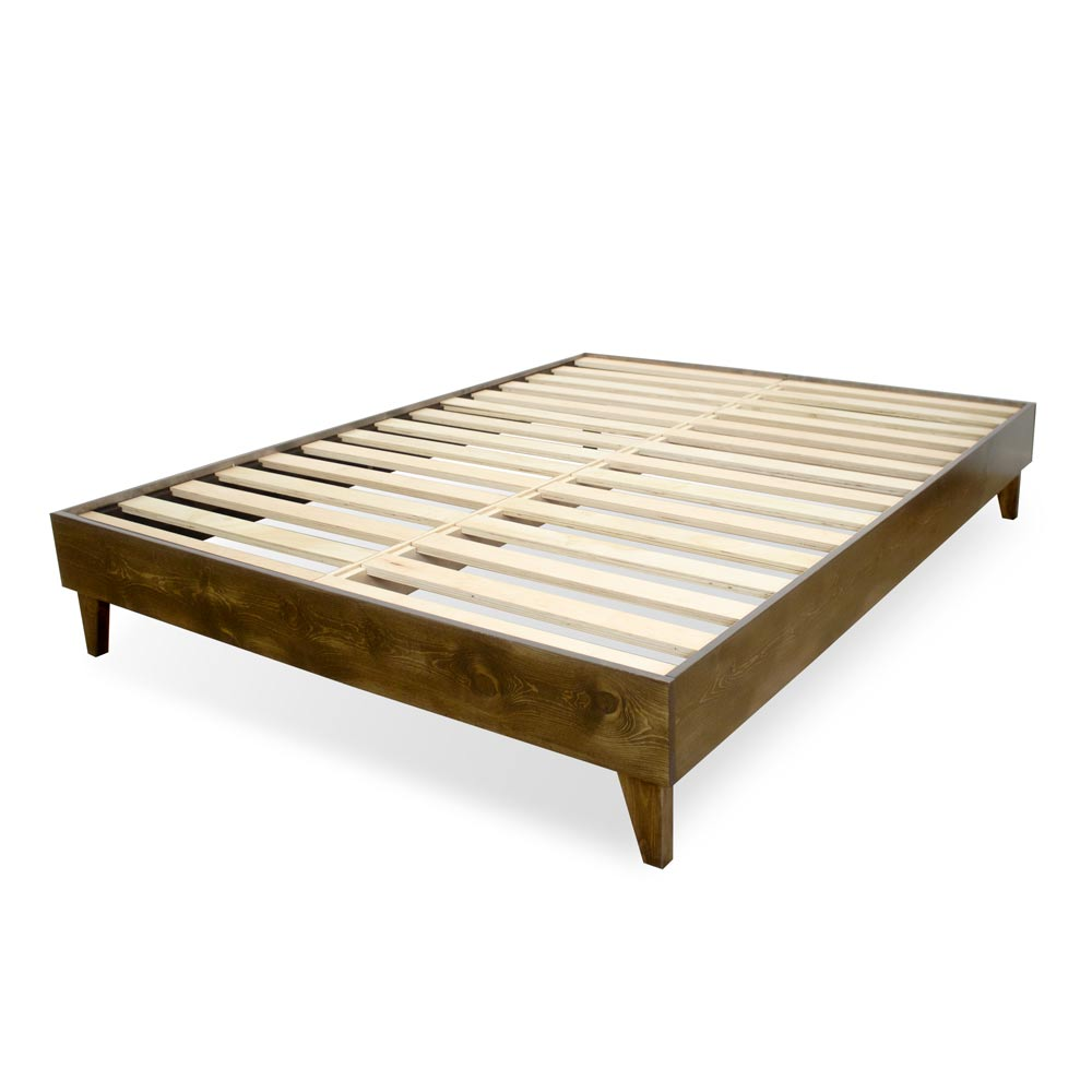 100% North American Pine Wood Platform Bed Frame w/ Pressed Pine Slats, Tool-Free Assembly