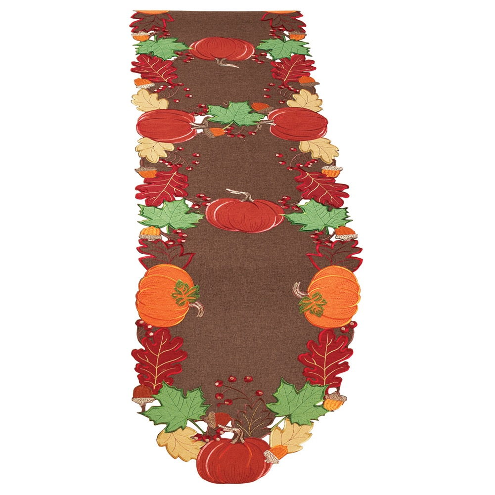 Harvest Pumpkin And Leaves Table Linens, Runner by Collections Etc