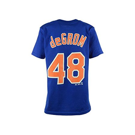 Jacob deGrom New York Mets Blue MLB Youth Majestic Athletic Name and Number T-Shirt (Mlb Baseball Youth Watch)
