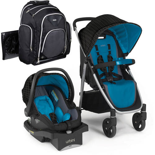 Urbini Turni Travel System with iPack Baby Diaper Bag Backpack Value Bundle