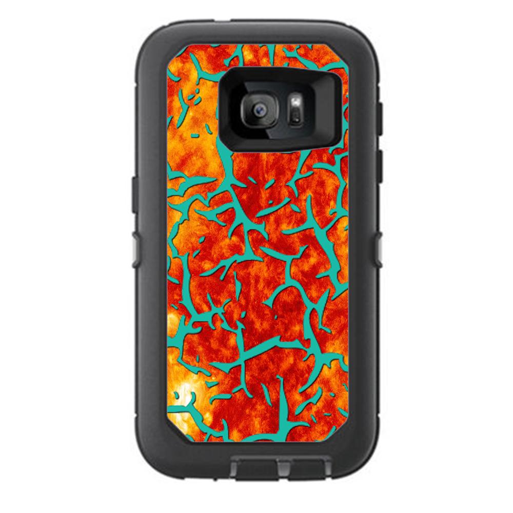 Skin Decal For Otterbox Defender Samsung Galaxy S7 Case / Kobe Design Orange Blue