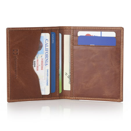 Alpine Swiss RFID Blocking Slim Business Card Case Leather Front Pocket Wallet