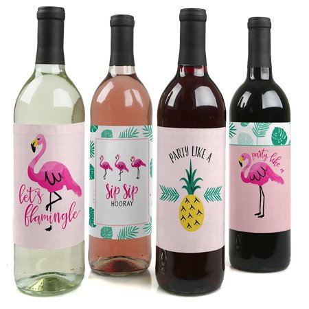 Pink Flamingo - Party Like a Pineapple - Party Decorations for Women and Men - Wine Bottle Label Stickers - Set of 4](Printable Halloween Wine Labels)