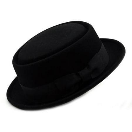 7ba8b2a3f452f NYFashion101 Inc - Mens Crushable Wool Felt Porkpie Hat w Feather -  Walmart.com