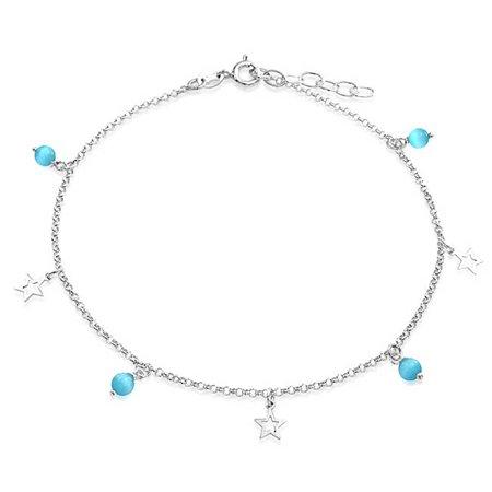 Open Star Charm Aqua Blue Cats Eye Bead Anklet For Teen Ankle Bracelet For Women 925 Sterling Silver Adjustable