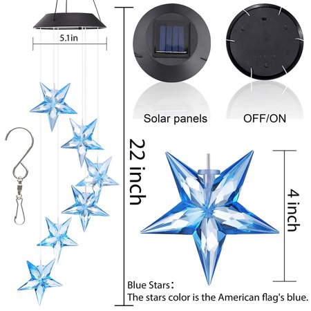 Solar Wind Chime Changing Colors Waterproof Six Star Solar Powered LED Hanging Lamp for Outdoor Garden Party Decoration - image 8 de 8
