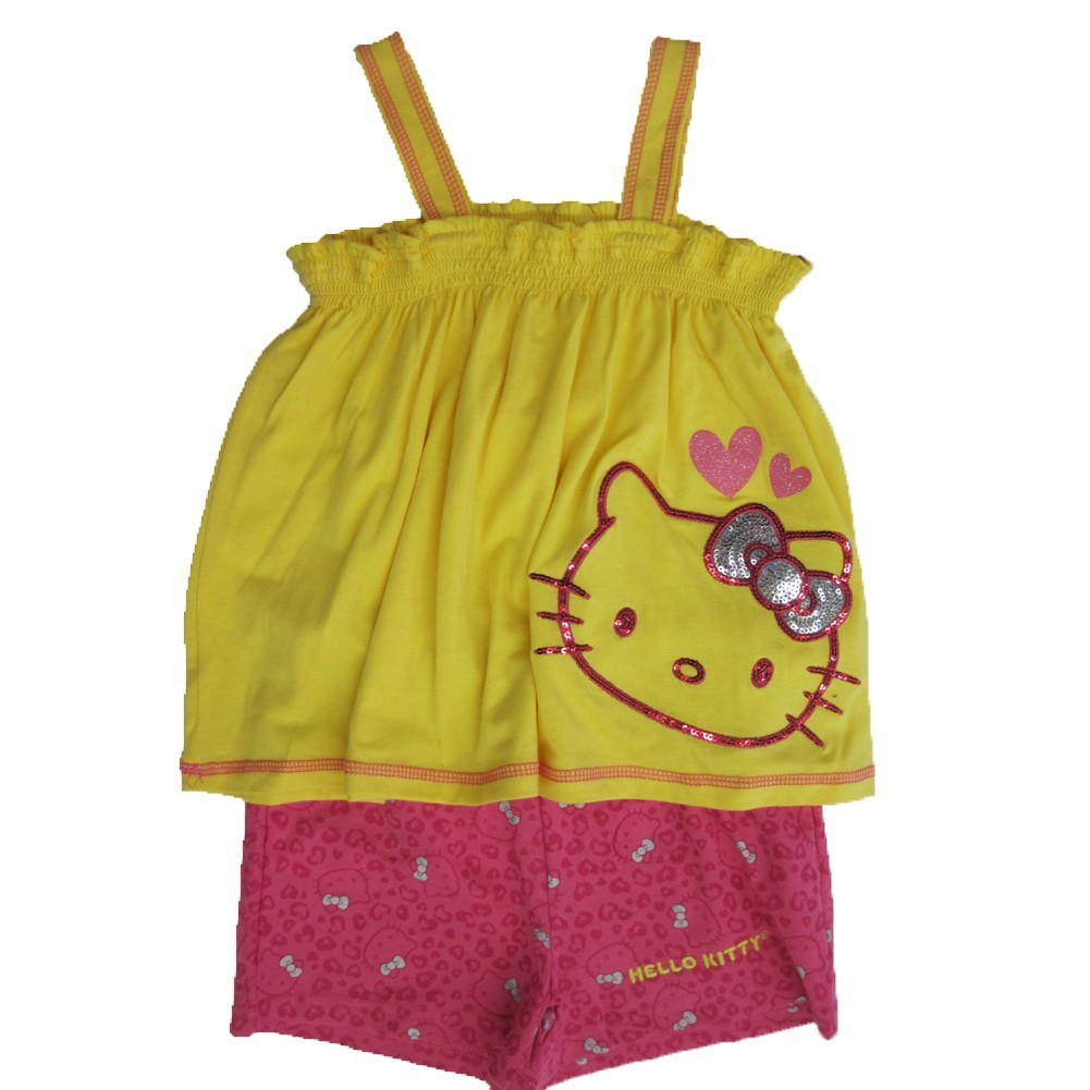 Hello Kitty Little Girls Yellow Fuchsia Sparkle Applique 2 Pc Shorts Set 4-6X