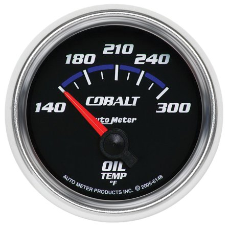 AutoMeter 6148 Cobalt Electric Oil Temperature Gauge; 2-1/16 in.; Black Dial Face; Fluorescent Red Pointer; Blue LED Lighting; Electric Air-Core; 140-300 Degree F;