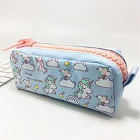 KABOER 1 Pcs Kawaii Pencil Case Unicorn Canvas Big Zipper School Pencil Box  Pencil Bag School Supplies
